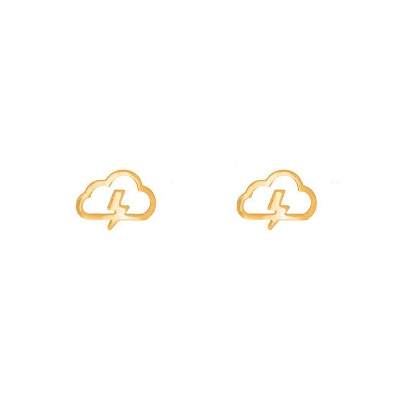 گوشواره میخی طلا طرح ابر و رعدوبرق