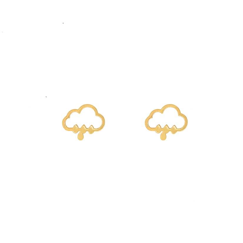 گوشواره طلا میخی طرح ابر و باران