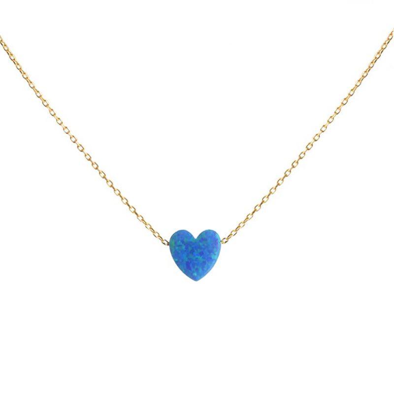 گردنبند طلا همراه با سنگ اوپال مدل قلب