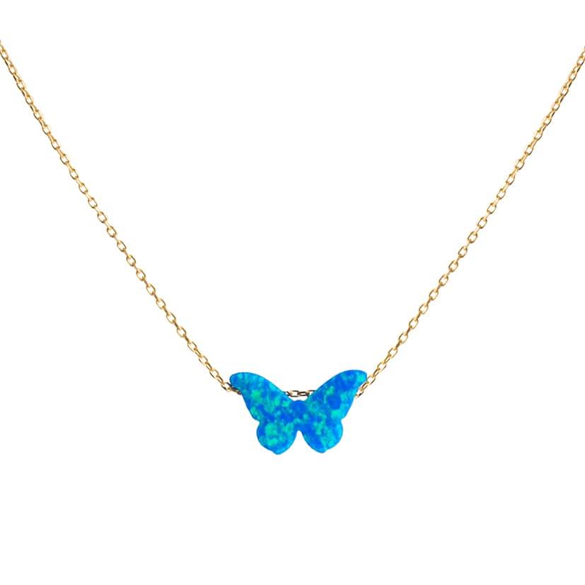 گردنبند طلا همراه سنگ اوپال مدل پروانه