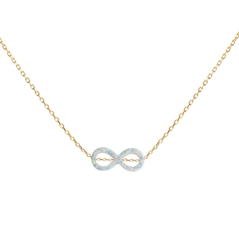 گردنبند طلا همراه سنگ اوپال مدل بی نهایت