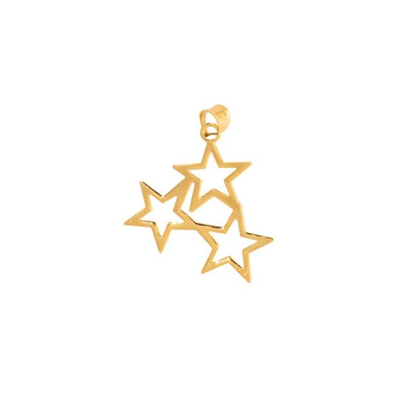 آویز طلا طرح سه ستاره