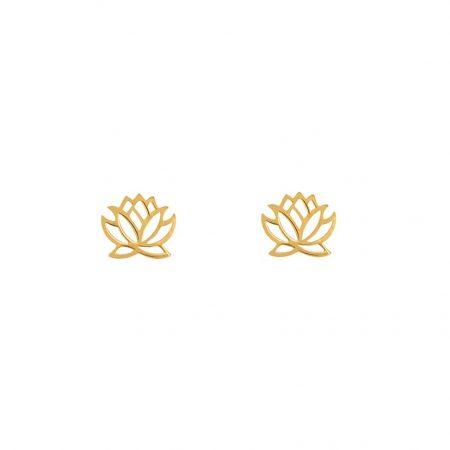 گوشواره میخی طلا طرح گل نیلوفر