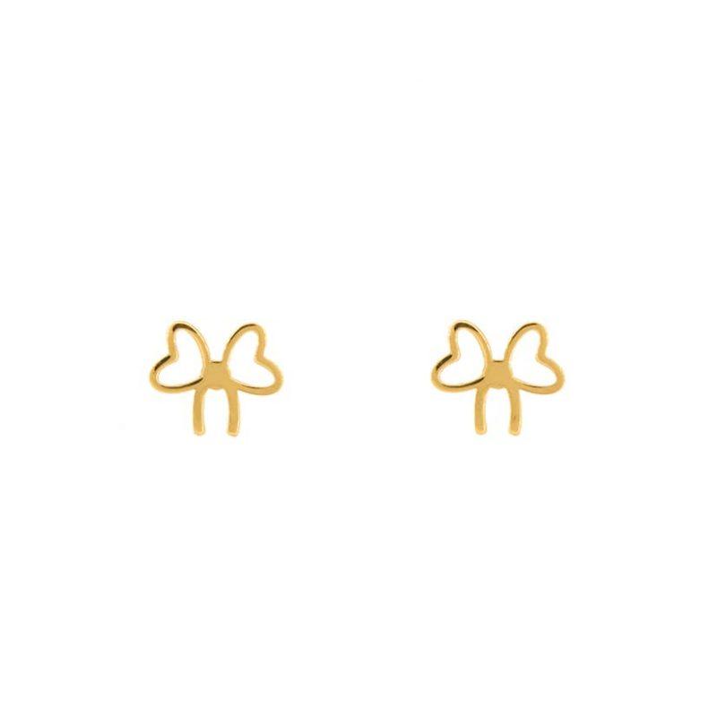 گوشواره طلا میخی طرح پاپیون