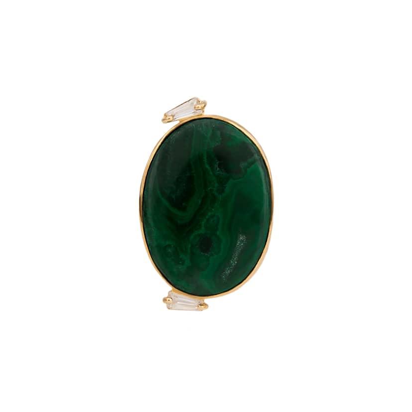 انگشتر طلا با سنگ سبز مدل دایره