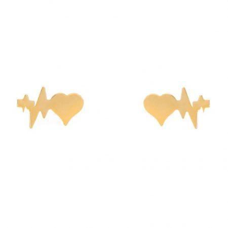 گوشواره میخی طلا طرح ضربان و قلب
