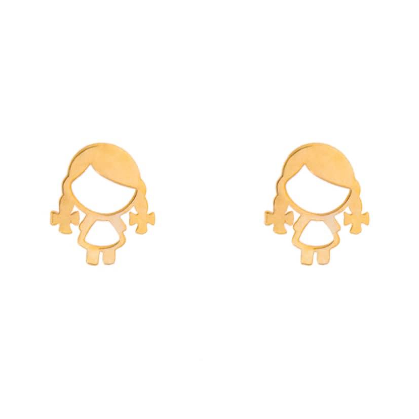 گوشواره طلا میخی طرح دخترک