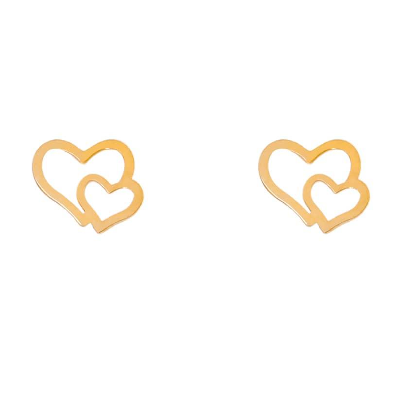 گوشواره میخی طلا طرح قلب کوچک و بزرگ