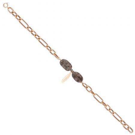 دسنبند زنجیری طلا با طراحی سنگ