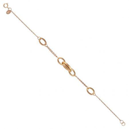 دستبند زنجیر و حلقه های متصل شده طلا