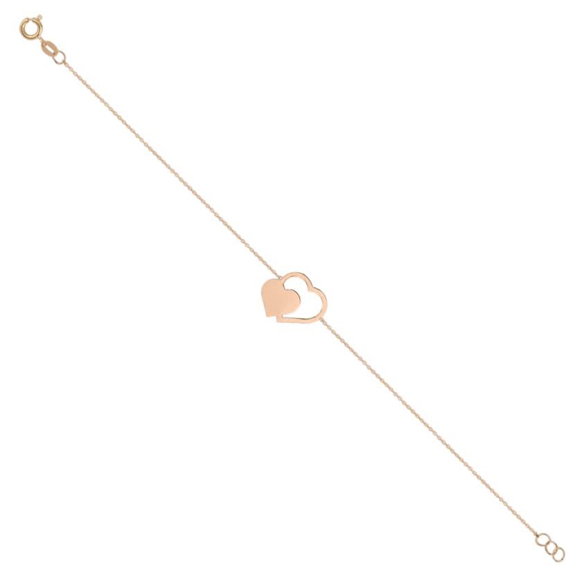 دستبند زنجیر قلب کوچک و بزرگ طلا
