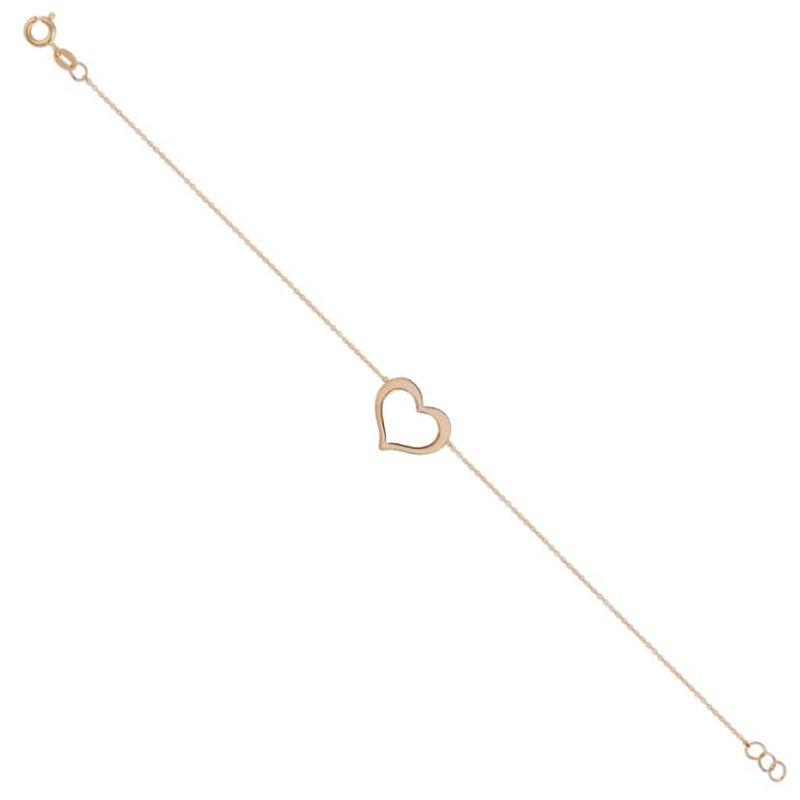 دستبند زنجیر و قلب طلا