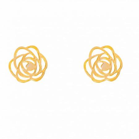 گوشواره طلا میخی طرح گل
