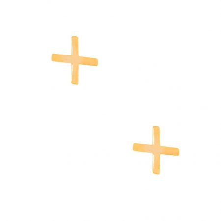 گوشواره طلا میخی طرح جمع یا پلاس یا مثبت
