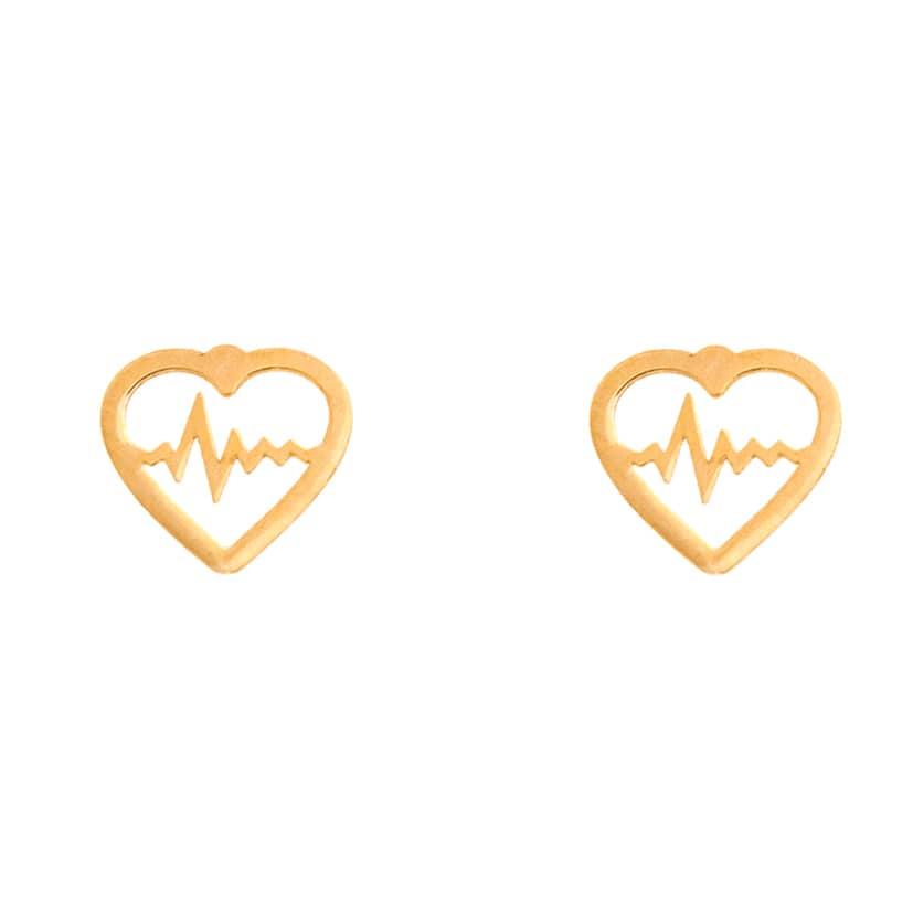 گوشواره طلا میخی طرح قلب و ضربان قلب