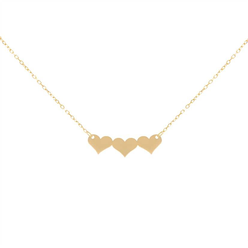 گردنبند طلا مدل سه عدد قلب به هم چسبیده