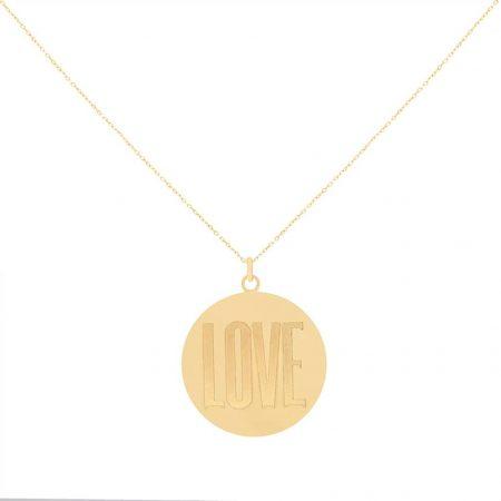گردنبند طلا با پلاک گرد و نوشته لاو
