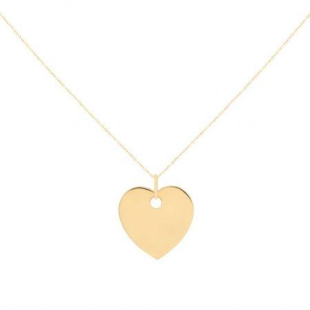 گردنبند طلا مدل قلب گرد همراه زنجیر