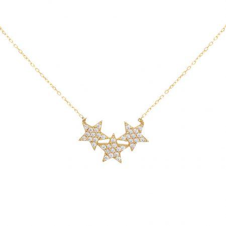 گردنبند طلا سه ستاره نگین دار