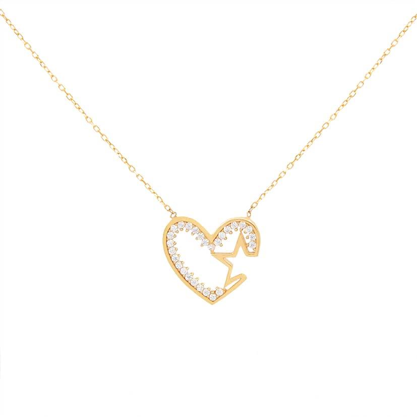 گردنبند طلا مدل قلب نگینی با ستاره