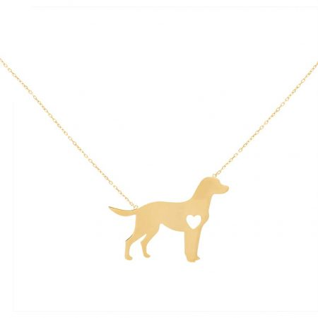 گردنبند طلا مدل سگ و قلب