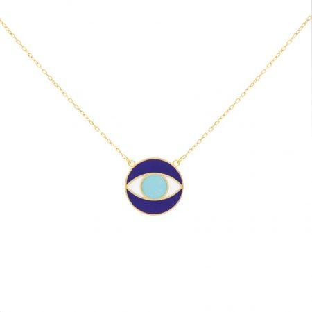 گردنبند طلا مدل چشم و نظر سورمه ای گرد