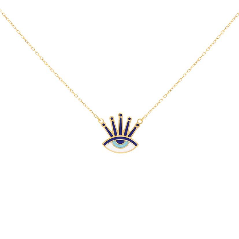 گردنبند طلا مدل چشم و نظر مژه دار