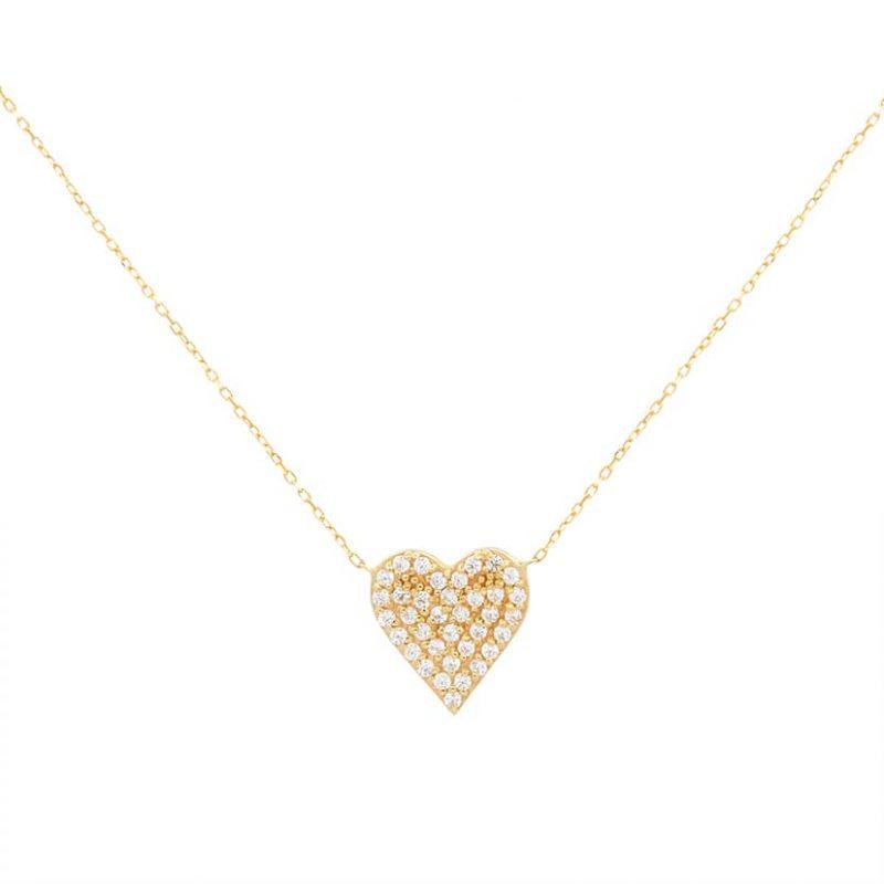 گردنبند طلا مدل قلب نگین دار