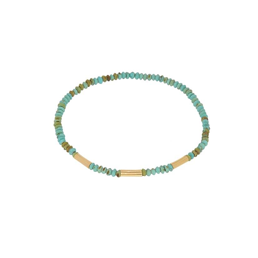 دستبند طلا همراه سنگ های فیروزه ای