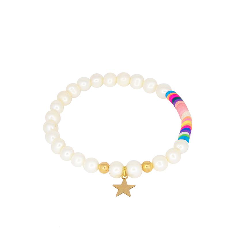 دستبند طلا و مروارید مدل ستاره